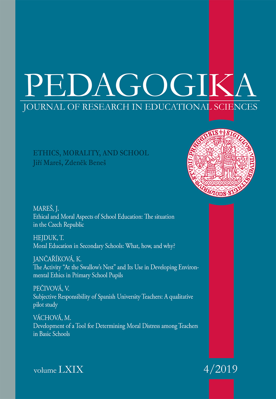 Náhled Vol 69 No 4 (2019): Ethics, Morality, and School