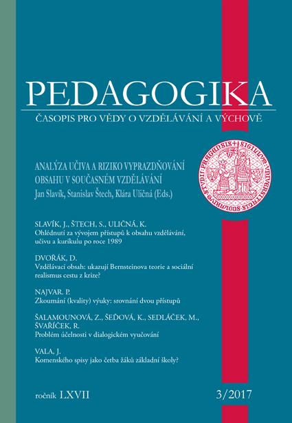 Náhled Vol 67 No 3 (2017): Analýza učiva a vyprazdňování obsahu v současném vzdělávání